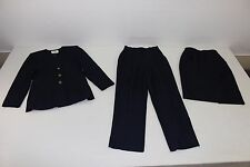 Kasper Womens Sz 4 Petite Matching Navy Blue 3 Pc Suit Jacket Pants Skirt Lined