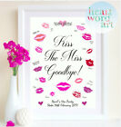 Hen Party Accessories Kiss The Miss Goodbye Personalised Hen Do Print Gift Bride