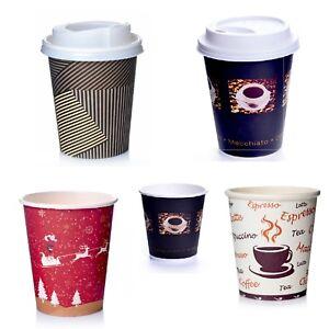 Coffee to go Becher Pappbecher 0,2 l Bean Kaffeebecher m Deckel Auswahl Schwarz