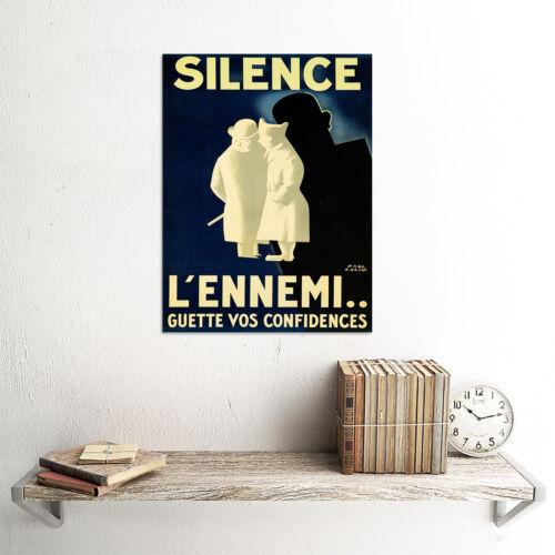 PROPAGANDA WAR WWII FRANCE LOOSE TALK ENEMY SHADOW SILENCE POSTERPRINT BB8235B
