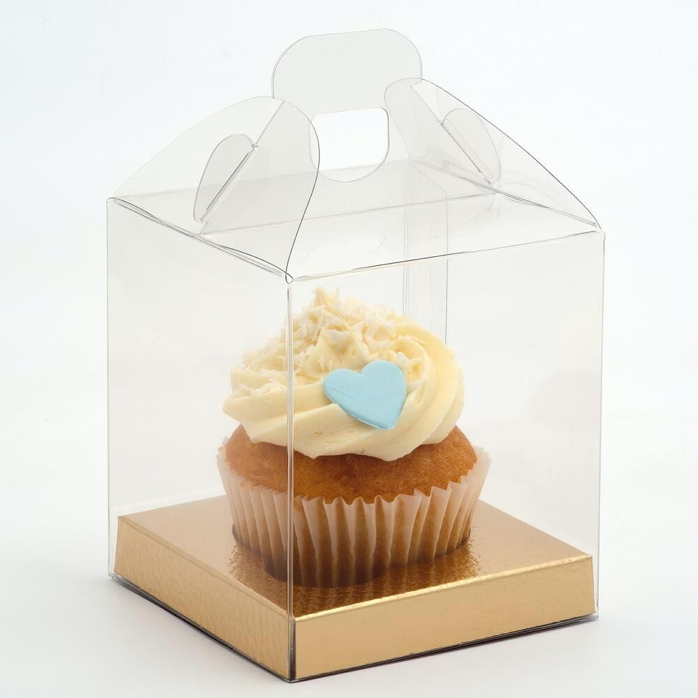 Clear Cupcake Cupcake Cupcake Cake Favour Gift Boxes With Gold Inserts Transparent PVC Wedding 39541f