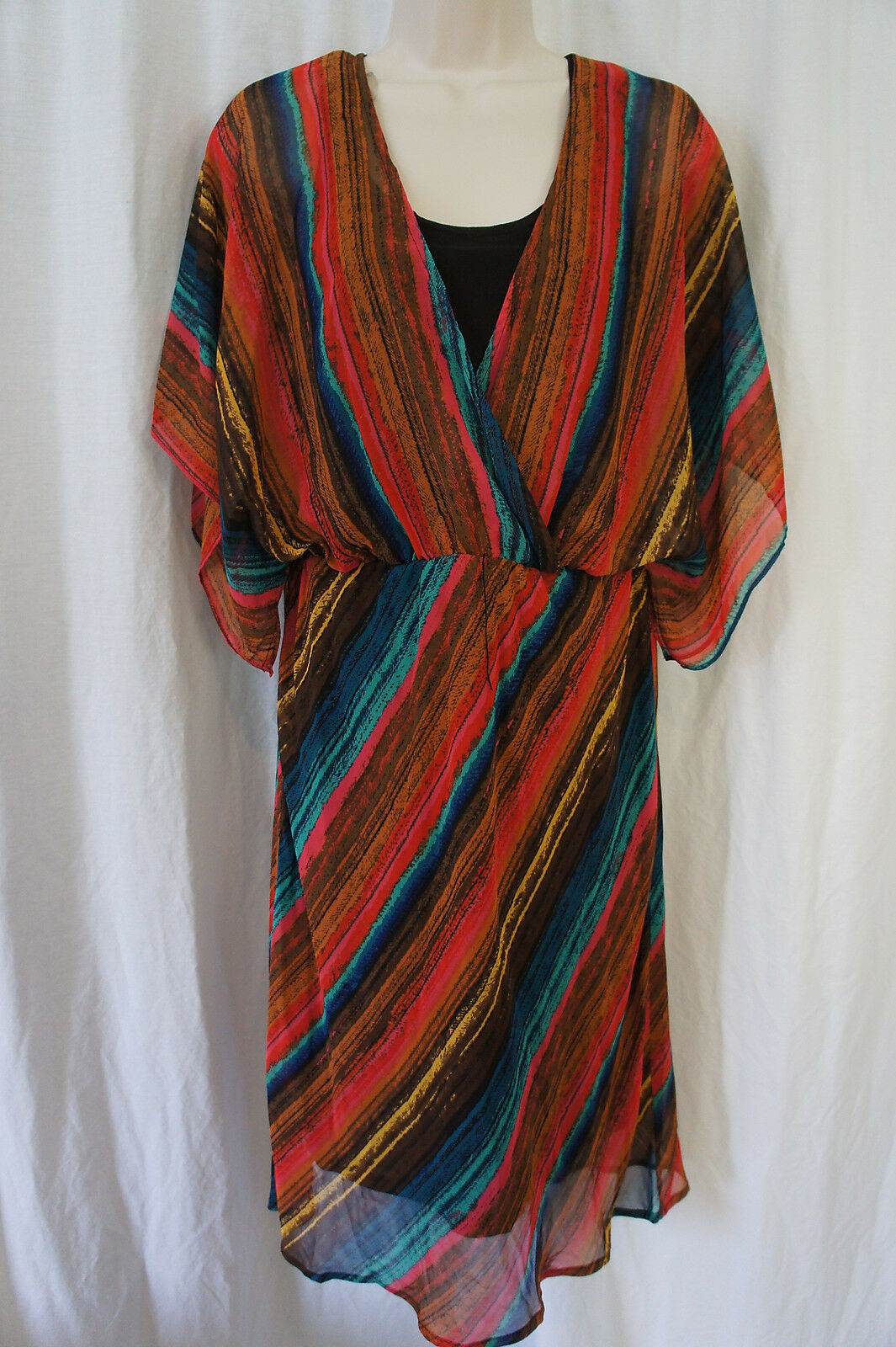 Signature By Robbie Bee Dress Sz 8 Pink Turquoise Multi Business Casual Dress