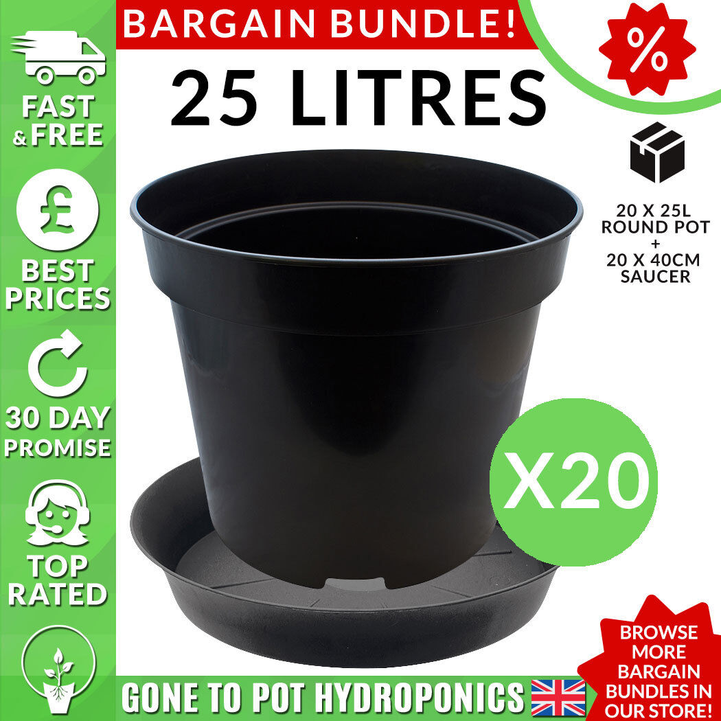 Pot and Saucer Discount Bundle - 20 x 25L Round Pot, 20 x 40cm Saucer
