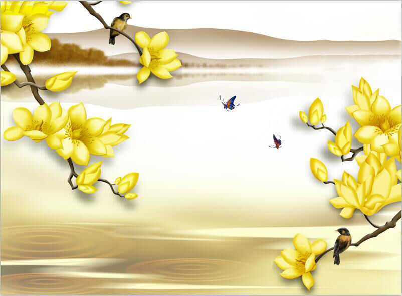 3D Yellow flowers hill bird Wall Paper Print Decal Wall Deco Indoor wall Mural