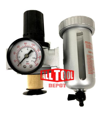 "1//2/"" Mid Flow Air Compressor Regulator /& Filter Combo w// Gauge //Manual Drain"