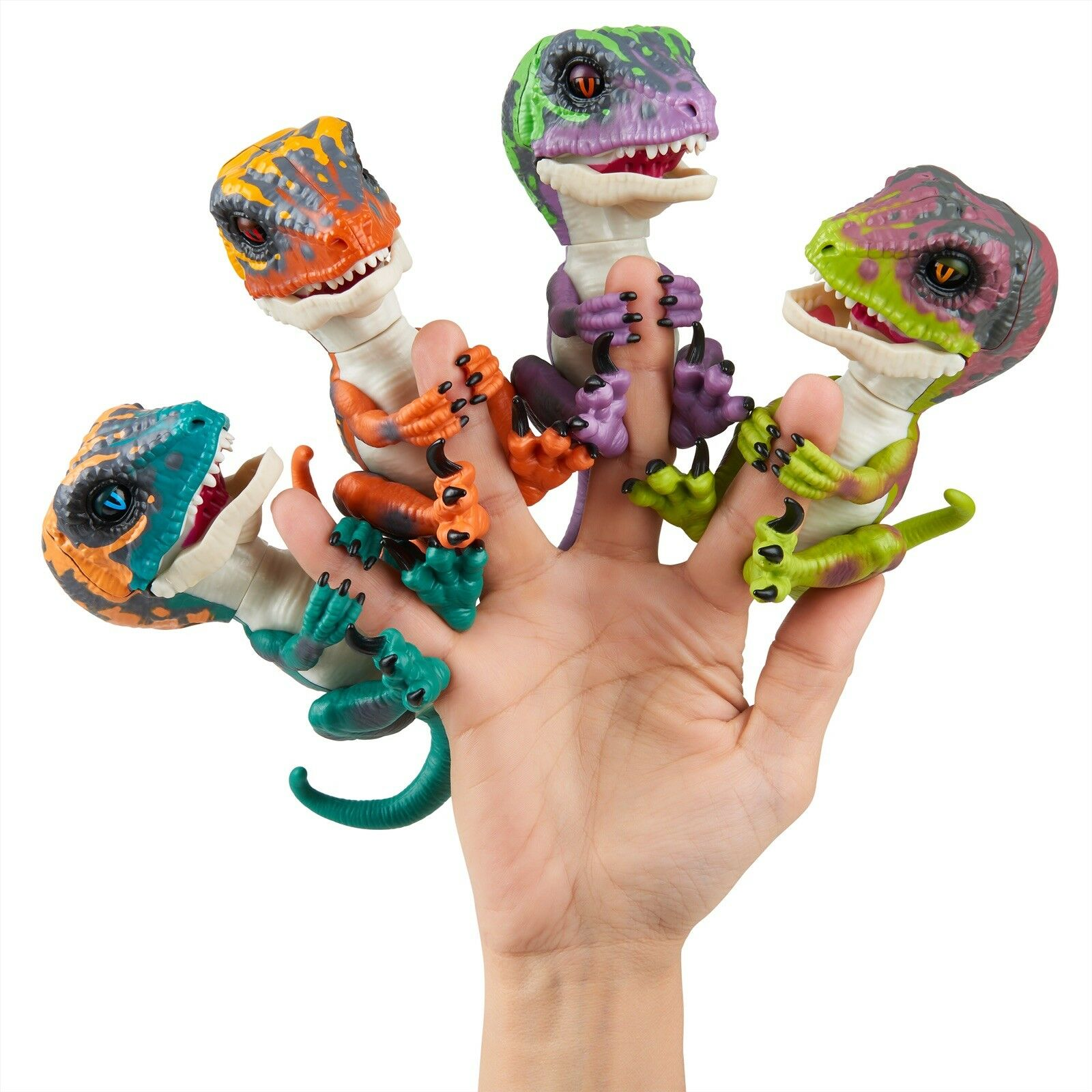 Lot Of 4 WowWee RAPTOR FINGERLINGS Dinosaur Blaze Fury Stealth Razor NEW NIB