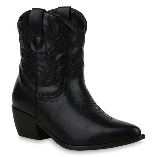 Damen Stiefeletten Cowboy Boots Western Schuhe Stickereien Stiefel 825612 Trendy