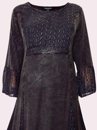 NEW Eaonplus BLACK Embroidered Panel Bodice Bell Sleeve Dress Sizes UK 18 to 32