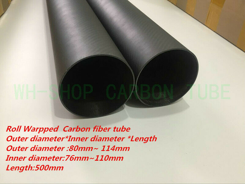 3K autobon Fiber Tube OD80  84mm 90mm 94mm 100mm 104mm 114mRoll Wrapped X 500MM-US  per il commercio all'ingrosso