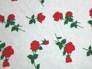 """Vtg Cotton Jersey knit Fabric White W/ Long Stem Red Roses 64"""" x 2 Yds"""