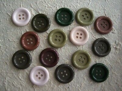15 SCRAPBOOKING / CRAFT BUTTONS B8c Round Flat Mixed beige brown RUSTIC Colours