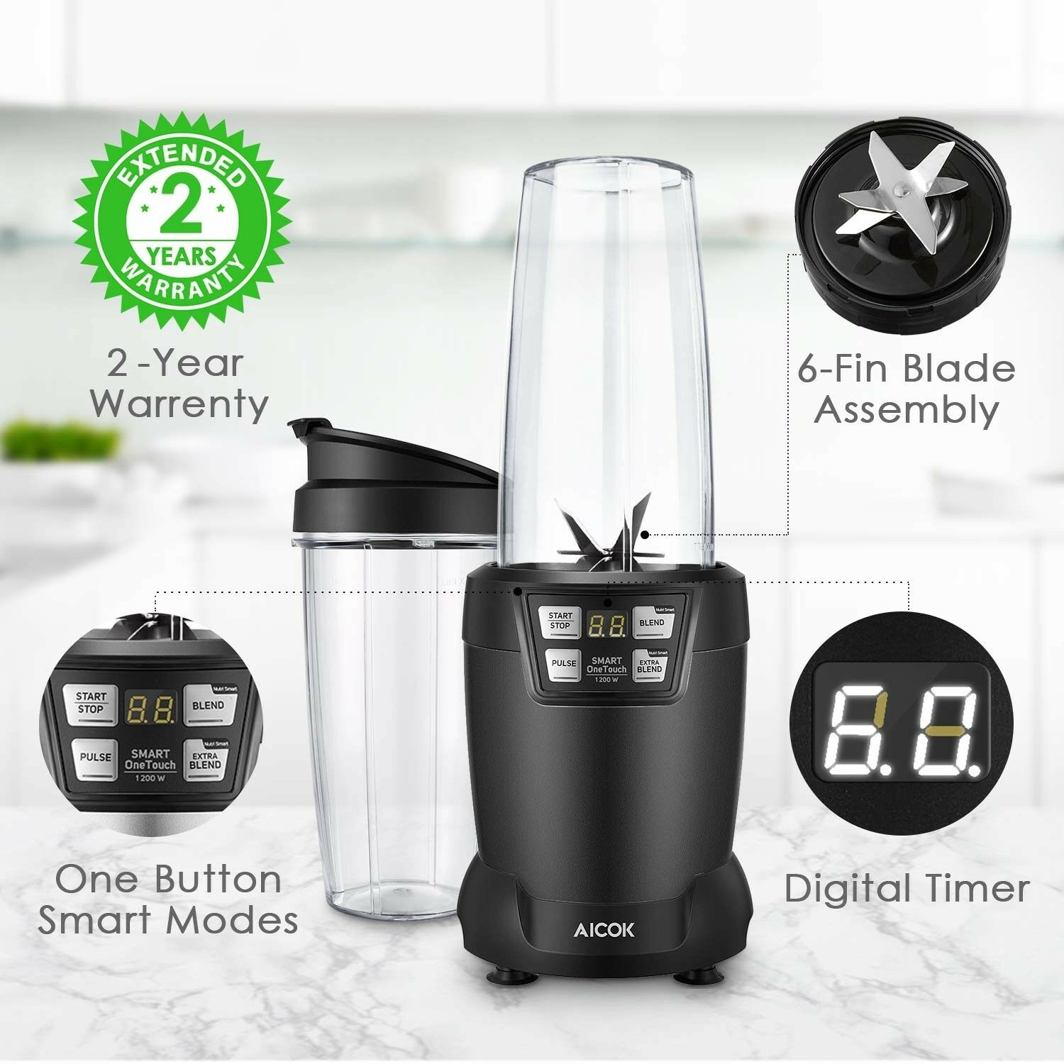 Personal Smoothie Blender 1200W Powerful 28000RPM Motor Easy To Go Clean