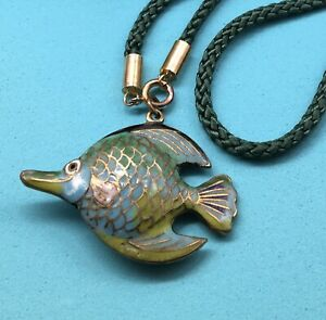 Cloisonne Fish Necklace Articulated Fish Pendant Vintage
