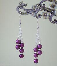 Purple Glass Pearl Dangly Chain Silver Plated Drop Earrings