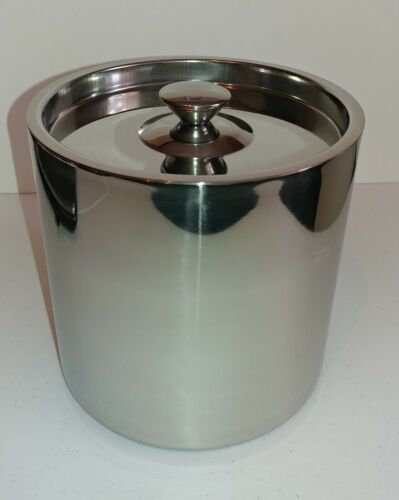 3L 3 QRT POLISHED STAINLESS STEEL DOUBLE WALLED LINEA ICE BUCKET WITH LID