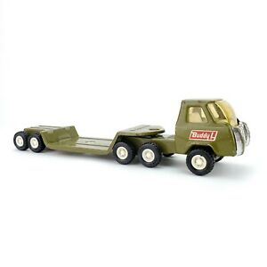 Vintage-1978-Buddy-L-Military-Truck-Lowboy-Trailer-Pressed-Steel-Green-Japan