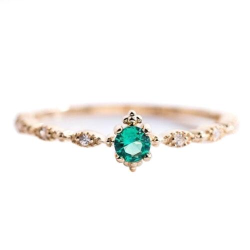 Diamante Verde de Imitación Chapado en Oro Anillo de compromiso de boda joyería CB