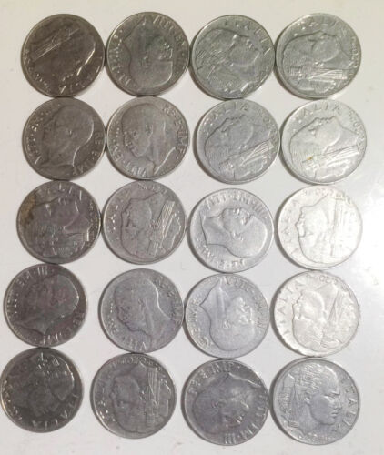 Italy 20 Centisimi Cents 1939-1943 22mm steel magnetic km75d coins lot 20pcs