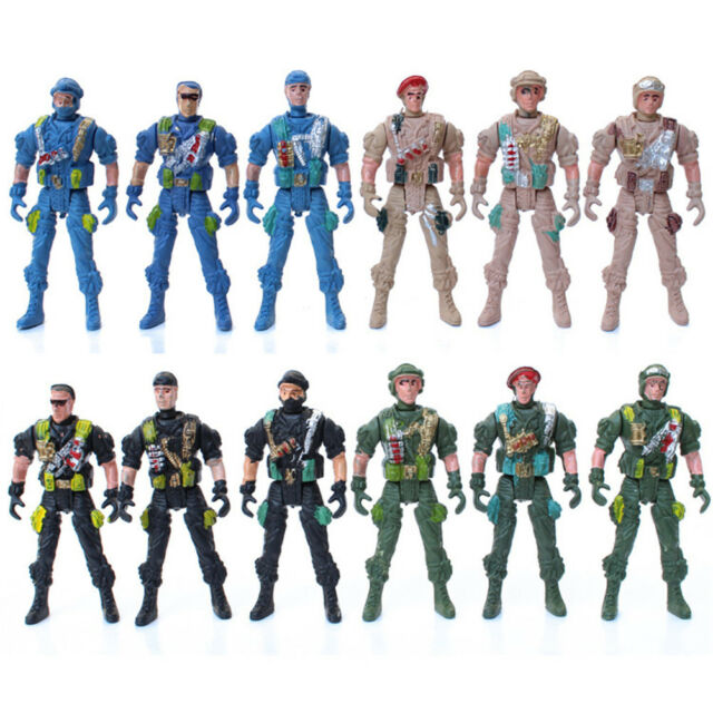 Military Playset Special Force Action Figures Kid Toy Plastic 9cm Soldier Men DU