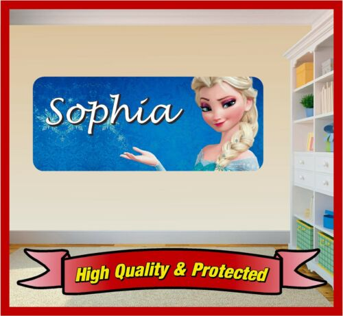 Frozen Elsa Wall Print Personalised Vinyl Sticker Decal Childrens Bedroom Girl