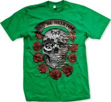 Dia De Muertos- Sugar Skull Day Of The Dead Tattoo Flash Art Roses-Men's T-shirt