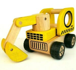 I-039-M-Toy-Kids-Wooden-3-In-1-Road-Vehicles-Play-Set-Digger-Bulldozer-Road-Roller