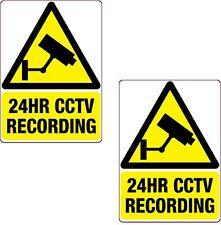 2 x 24HR CCTV Recording Sticker Black 150x105mm Printed Vinyl Label Home Shop