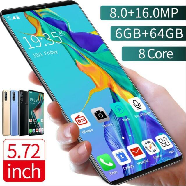 P43 Unlocked SmartPhone 5.72'' Android 9.1 HD Full Screen Camera Dual SIM Mobile