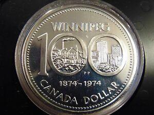 1974 CANADA PROOF LIKE PL cased WINNIPEG Centennial silver dollar MINT in box
