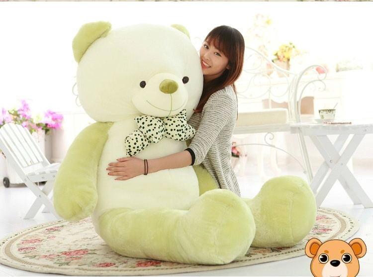 47'' 120CM Big Green White Teddy Bear Stuffed Animal Plush Toy Kid Birthday Gift