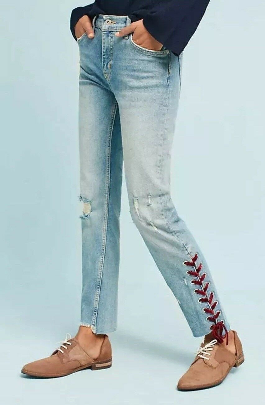NWT Anthropologie Pilcro Velvet-Laced Mid-Rise Slim Straight Jeans Größe 30
