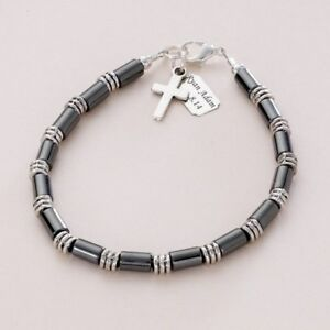 Image is loading Boys-Personalised-Bracelet-with-Any-Engraving-First-Holy-