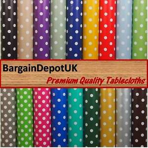 Image Is Loading Polka Dots PVC Vinyl Tablecloth Oilcloth Wipe Clean