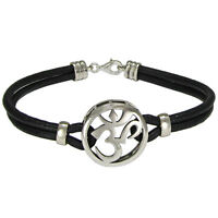 Sterling Silver Aum Bracelet Genuine Leather - Om Ohm Hindu Buddhism Jewelry