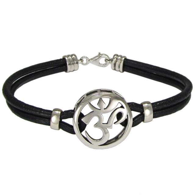 Sterling Silver Aum Bracelet Genuine Leather Om Ohm Hindu Buddhism Jewelry