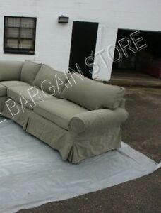 Image Is Loading Pottery Barn Basic Sofa Sectional Slipcover RIGHT ARM