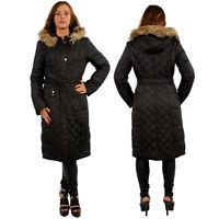 Womens Padded Quilted Parka Belt Shell Long Full Body Length Winter Jacket Coat