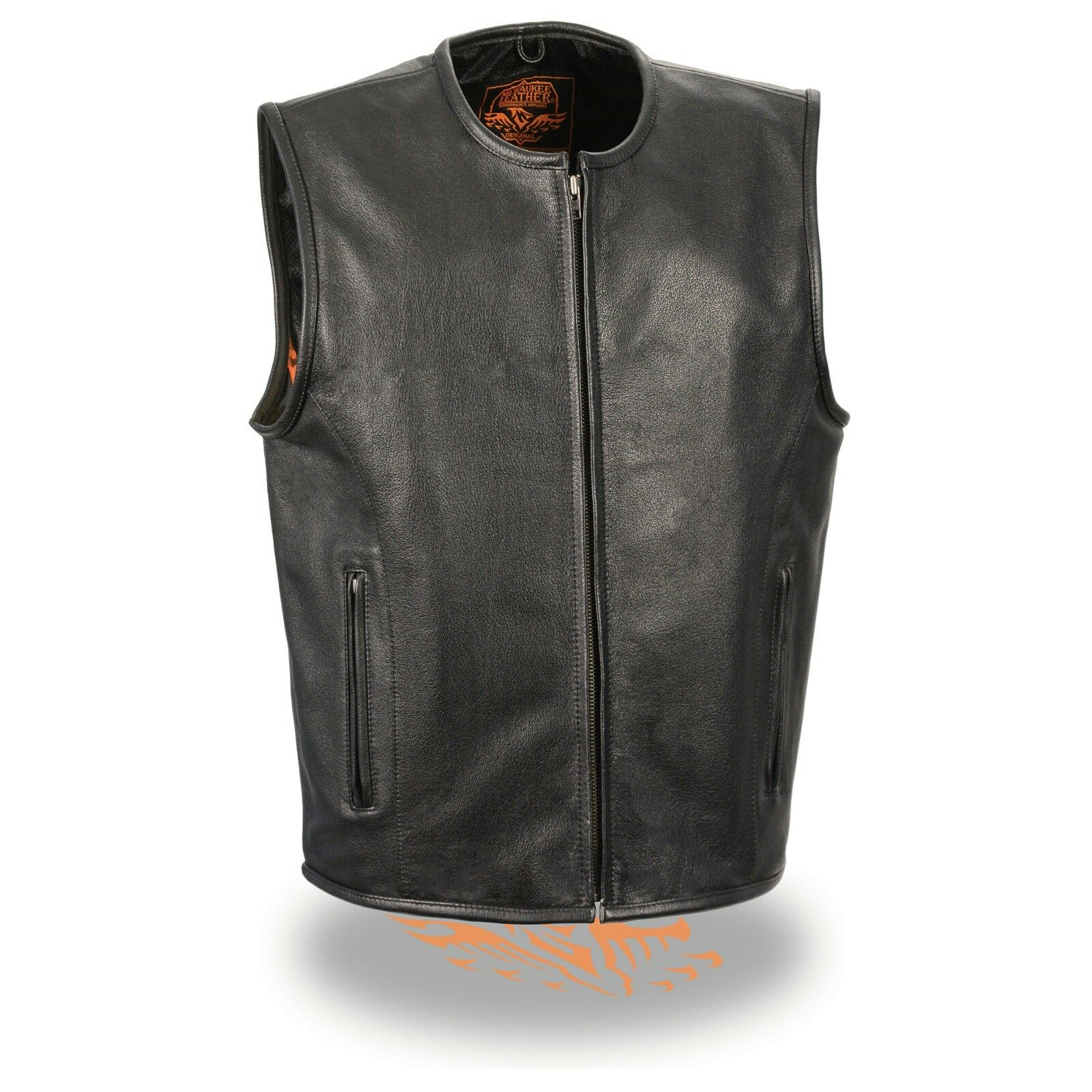 Milwaukee Leather Men's Zipper Front Leather Vest W  Seamless Design LKM3740