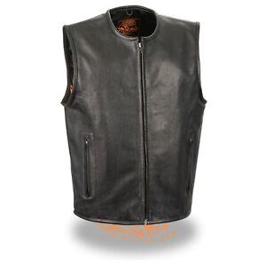 Milwaukee Leather *Men/'s Zipper Front Leather Vest W// *Seamless Design **LKM3740