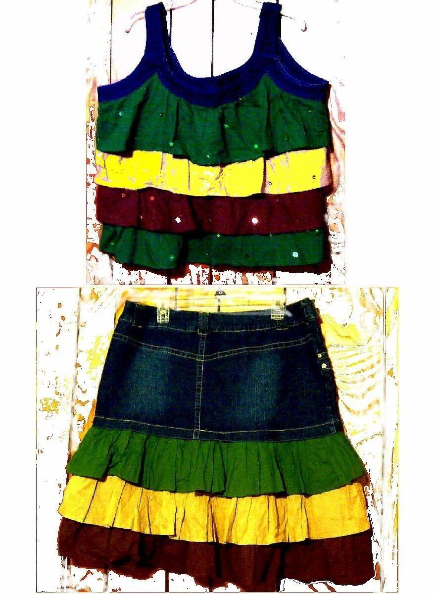 Indulgencies Green, Tan & Brown Jean Skirt and Top Set Sz 1X Top, 14 Skirt