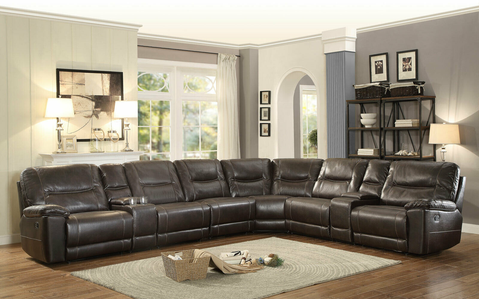 Brown Faux Leather Reclining Sofa