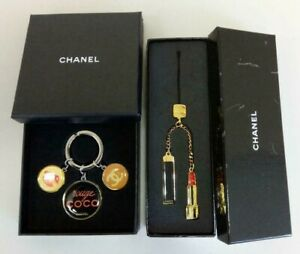 CHANEL-Key-Ring-Holder-Charm-Chain-Strap-Novelty-Authentic-Coco-mark-Set-of-2