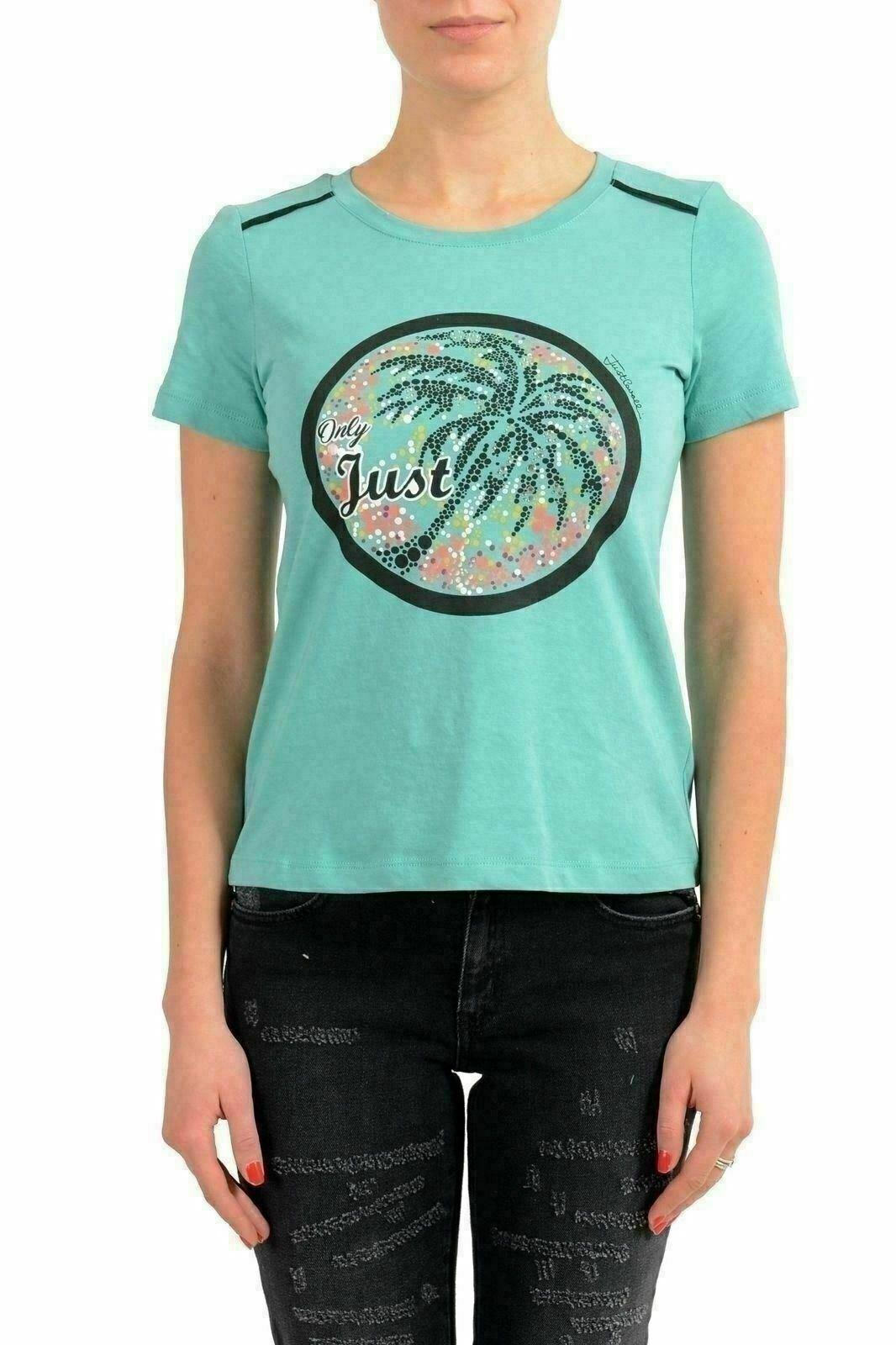 Just Cavalli Grün Embellished Short Sleeve Woherren T-Shirt US S IT 40