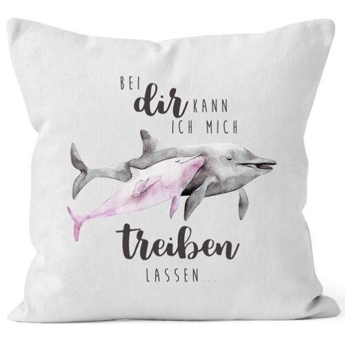 Kissen-Bezug Bei dir kann ich mich treiben lassen Delfin Delphin Liebe Spruch