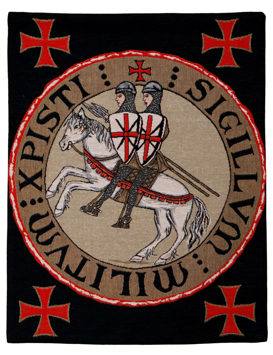 Belgian wall tapestry hanging wall decor seal with two templars