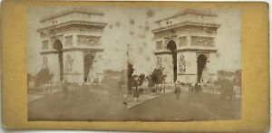 Parigi Arco Di Triomphe Stella Boulevard Foto Stereo Vintage Albumina