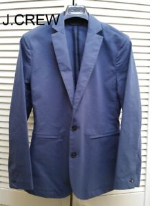 J.CREW Destination seersucker blazer blue cotton suit jacket slim-fit 34S 32 XS