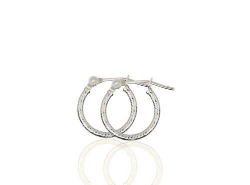 14k Yellow or White Gold Diamond Cut Hoop Earrings