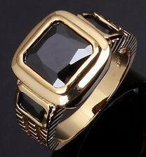 Gorgeous Engagement Size 12 Fashion Black Sapphire 18K Gold Filled Ring For Mens