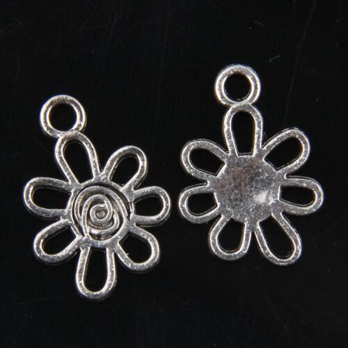 80pcs Tibetan Silver Flower Pendants Charms for Jewelry Making 17mm ABF1